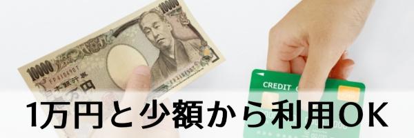 1万円と少額から利用可能
