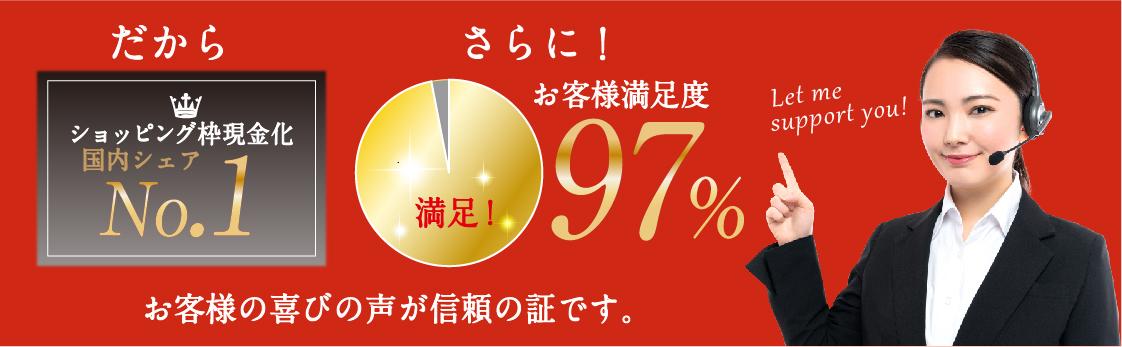 国内シェア数NO.1・顧客満足度97%
